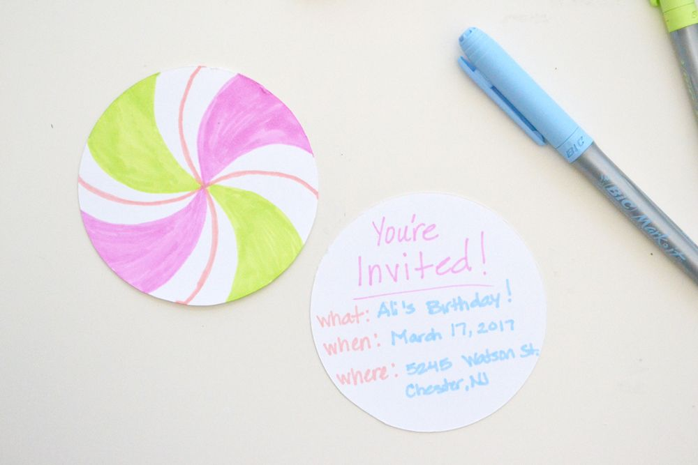 Lollipop party invitations write invitation