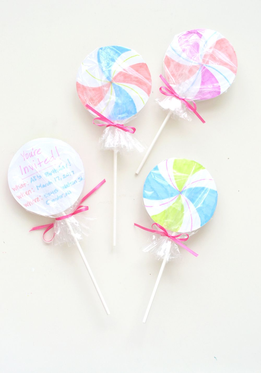 Lollipop party invitations