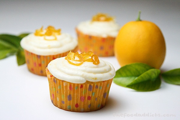 Meyer lemon cupcakes with candied lemon zest