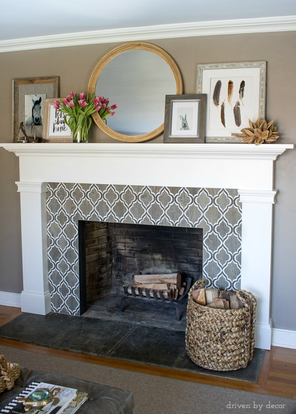 Our living room fireplace mantel decorated for spring