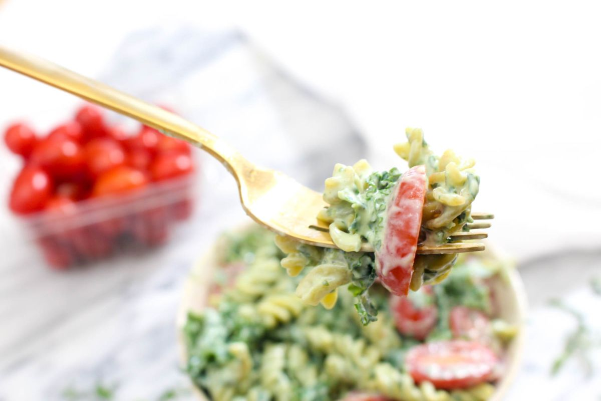 Protein packed pesto pasta gold furk serve