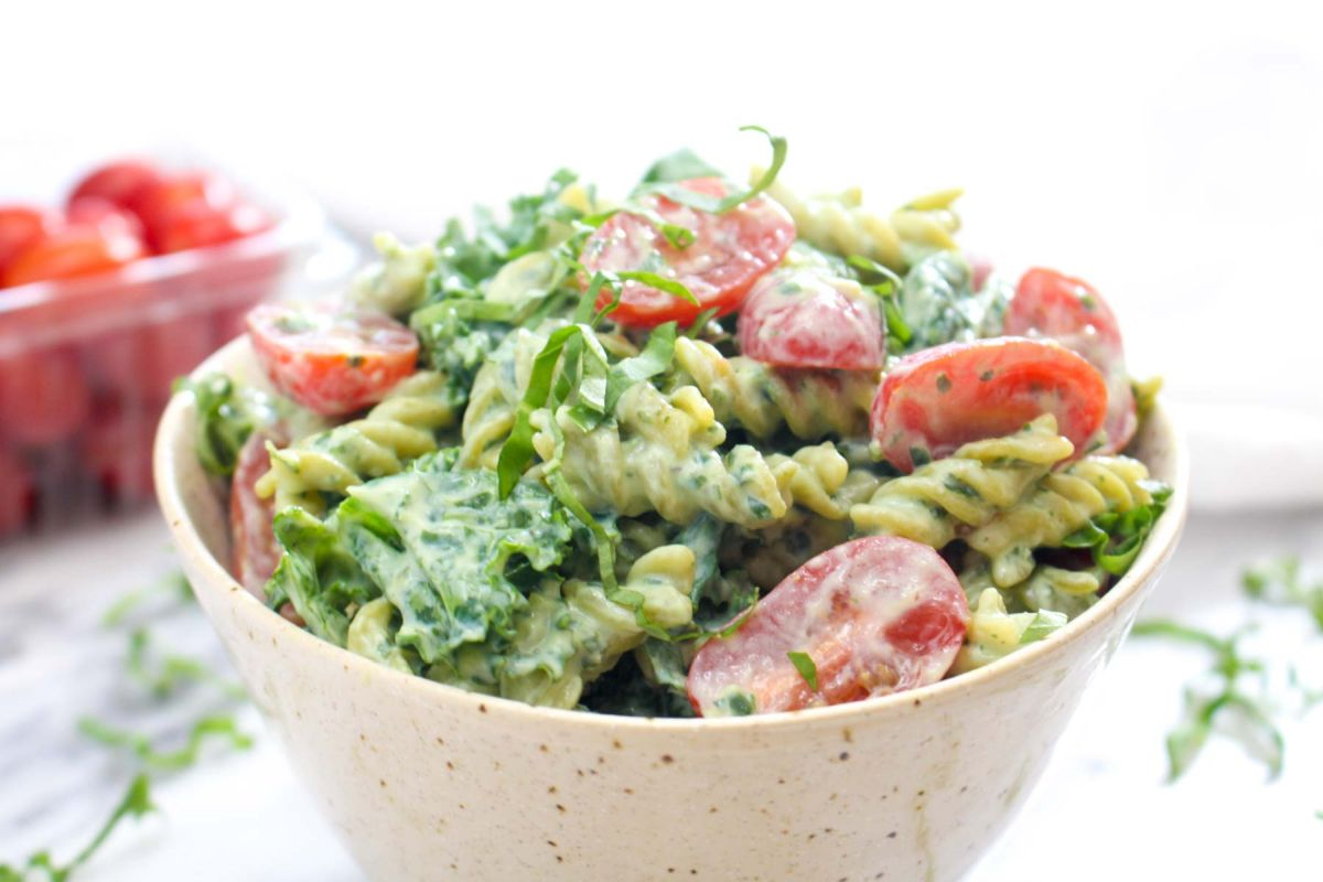 Protein packed pesto pasta top