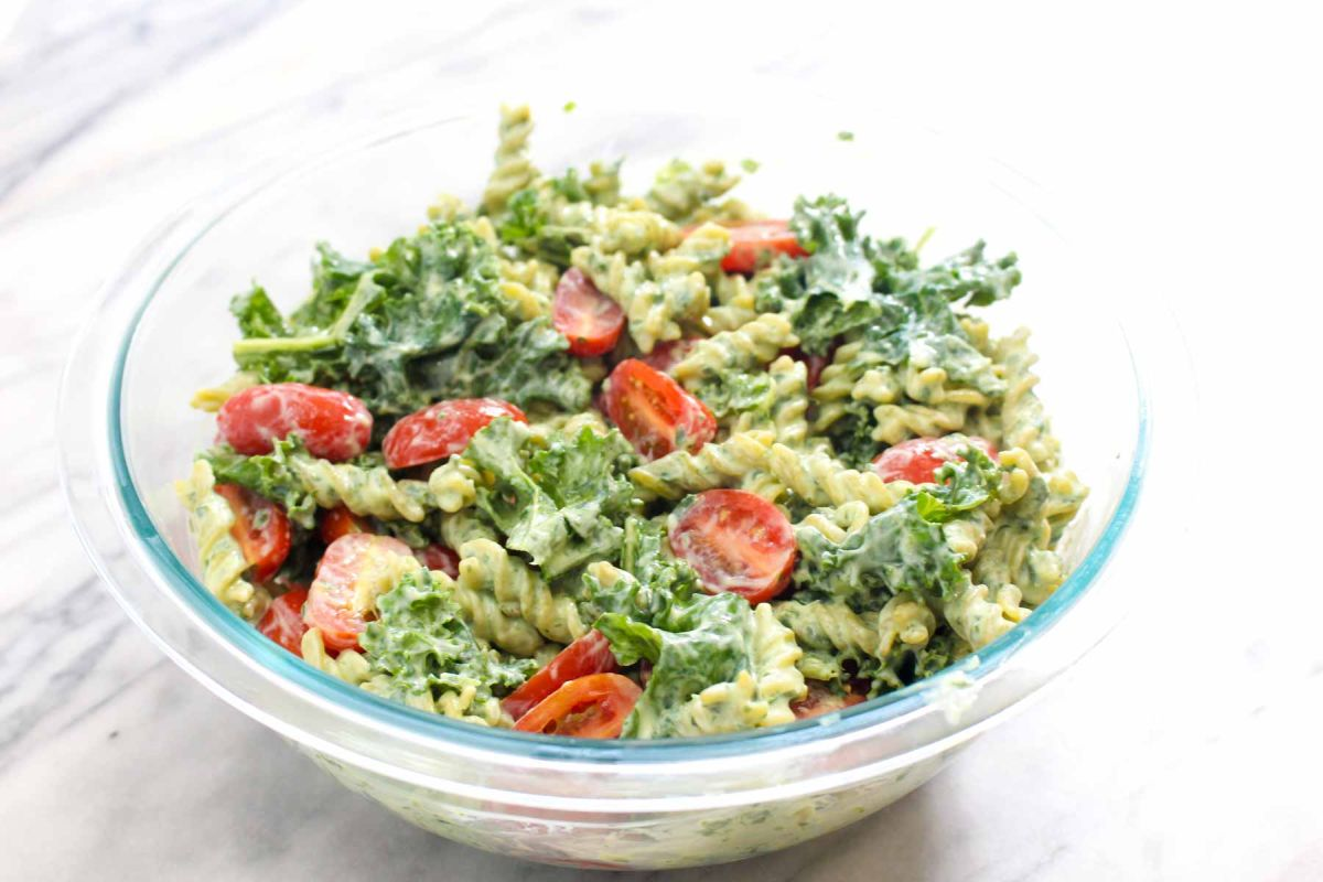 Protein packed pesto pasta mix all ingredients