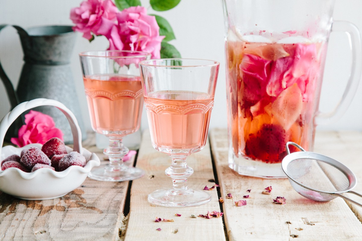 Rose lemon strawberry infused water