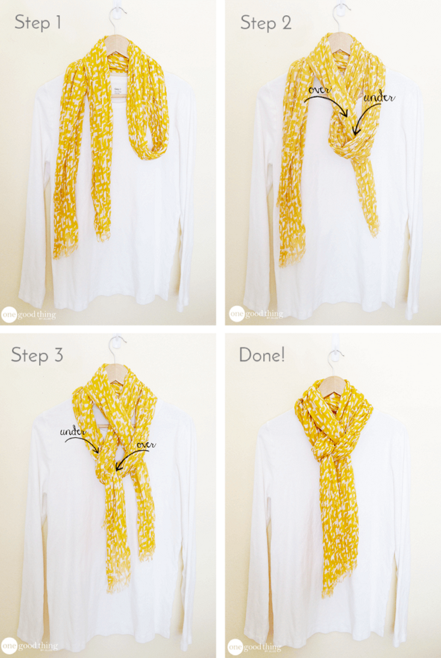 Simple pretty way to tie a scarf