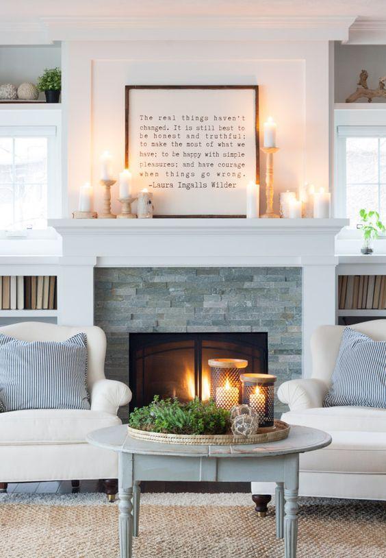 Simple quote over fireplace decor idea