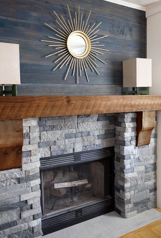 Starburst fireplace decor makeover idea