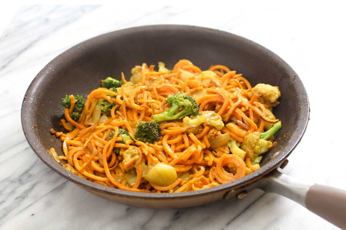 Sweet potato noodle curry coconut milk