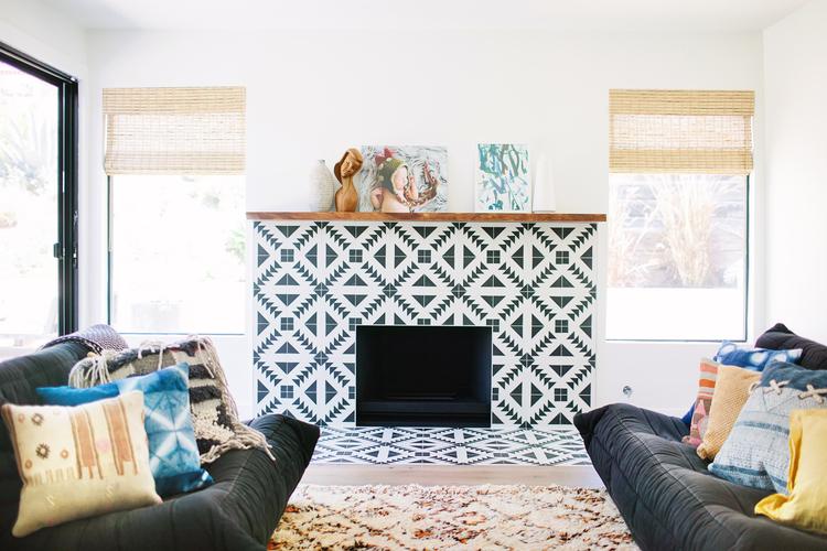 Tile fireplace design makeover
