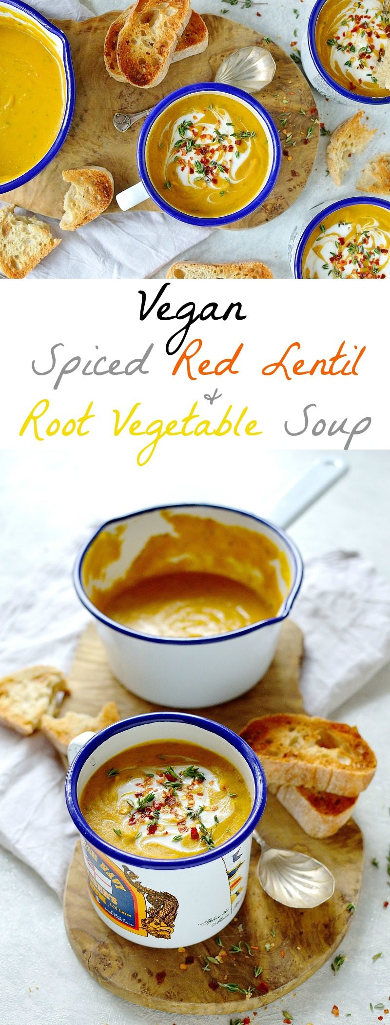 Vegan spiced red lentil and root vegetable soup - a healthy, hearty, warming lunch that is quick, easy and thrifty to make!