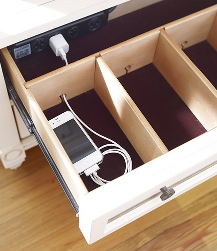 Diy charging station drawer
