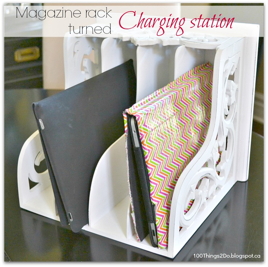 Diy magazine rack charging station