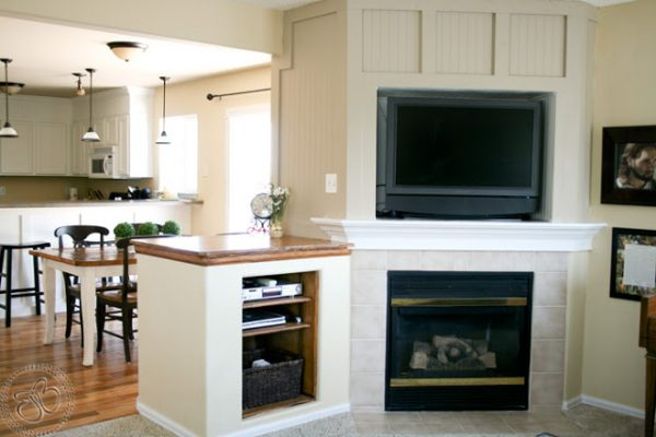 Fireplace makeover after wooden panel