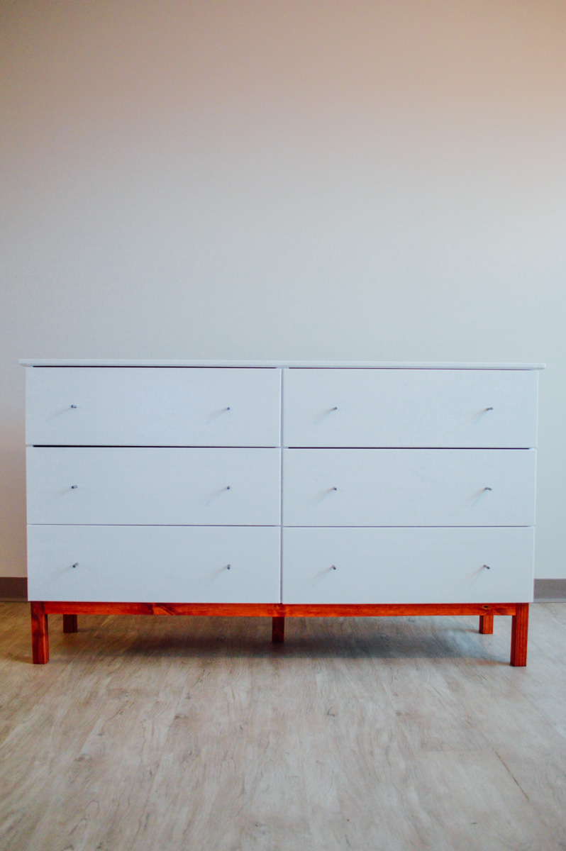 Ikea tarva dresser hack with red
