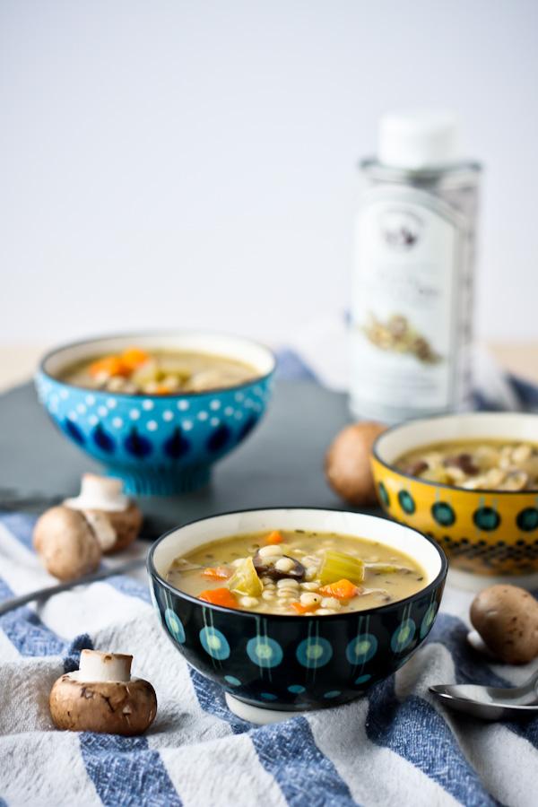 Mushroom barley soup with truffle oil 1 5