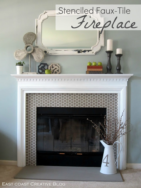 Stenciled faux tile fireplace