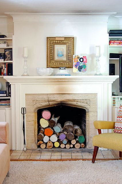 Unique and colorful fireplace design