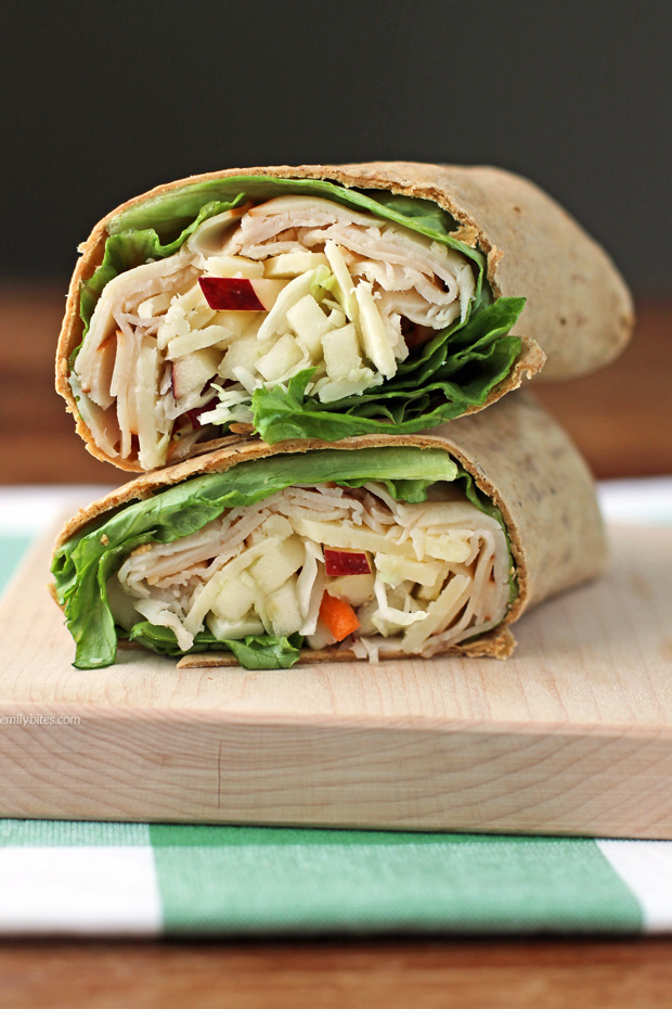 Apple cheddar turkey wrap