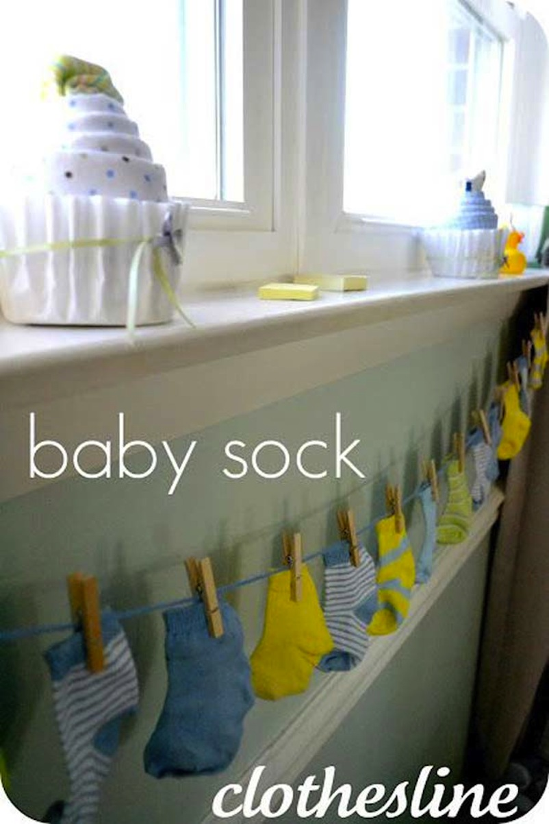 Baby sock clothesline