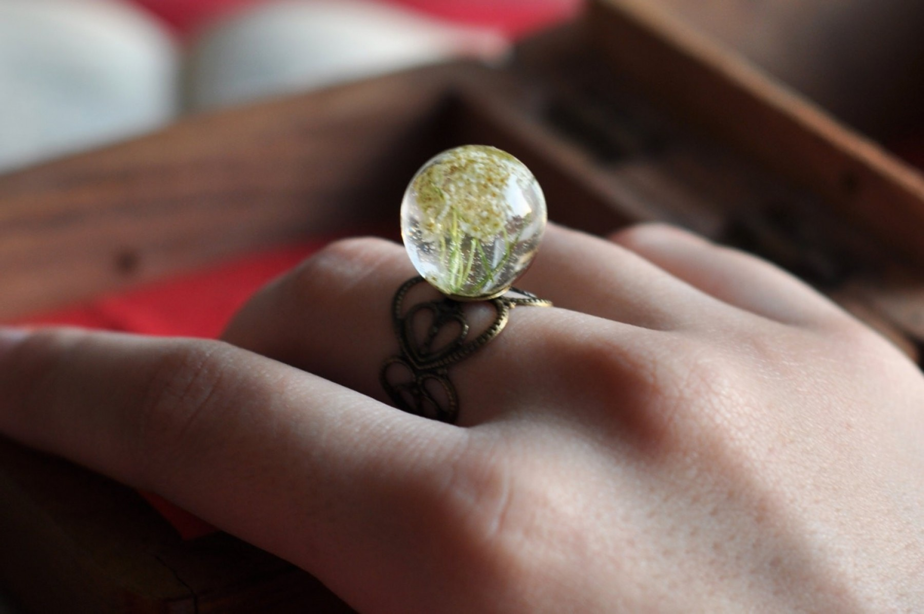 Baby's breath rounded resin ring