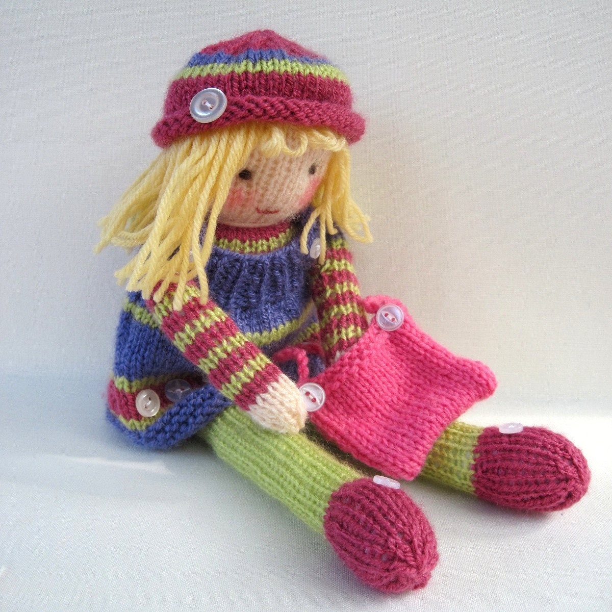 Betsy button knitted doll