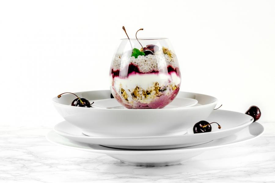 Black cherry breakfast parfait