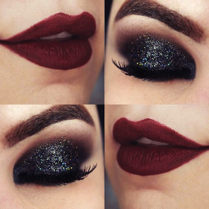 Black glitter lids and red lips