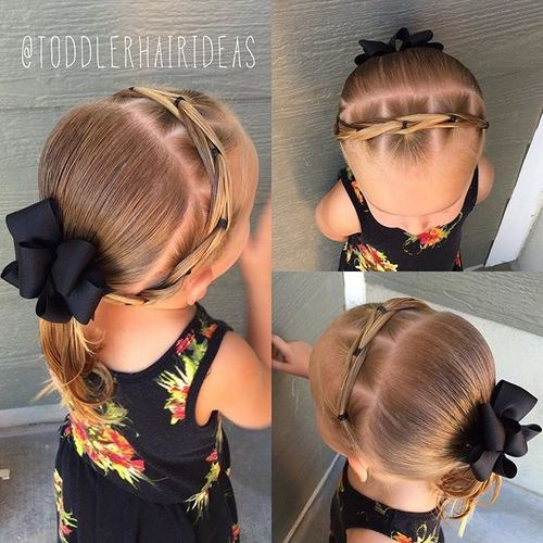 Braided headband with ponytail toddler hairstyle