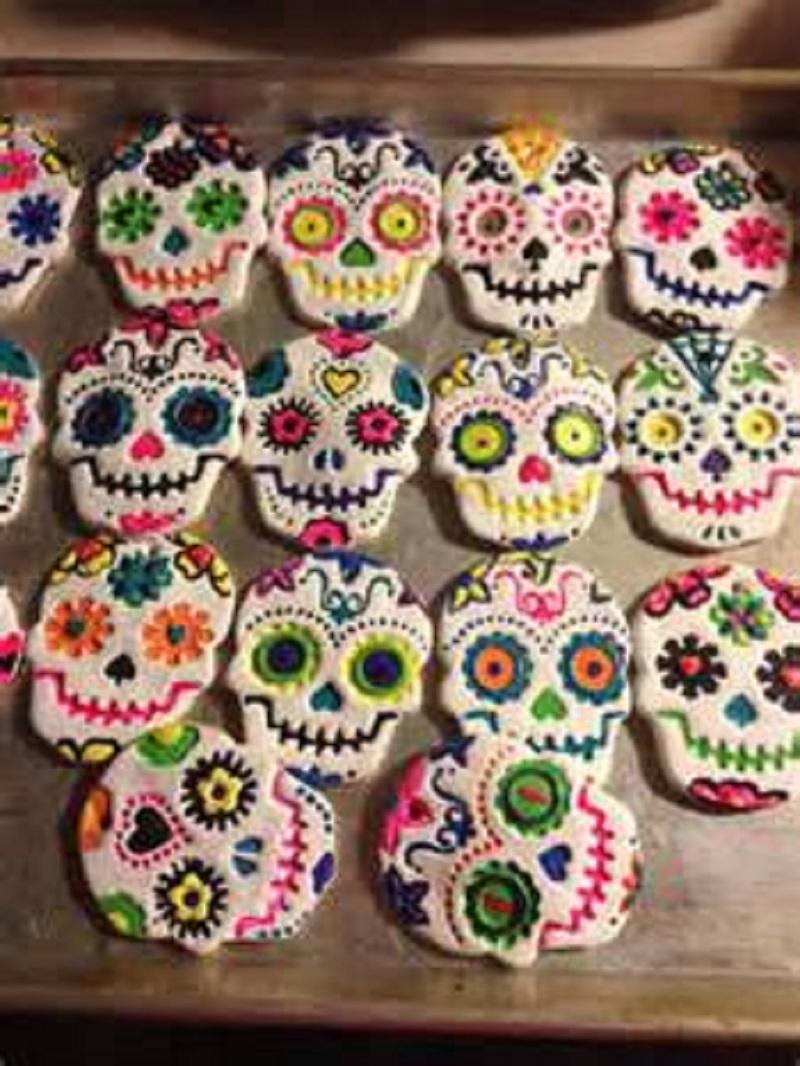 Bright salt dough sugar skulls