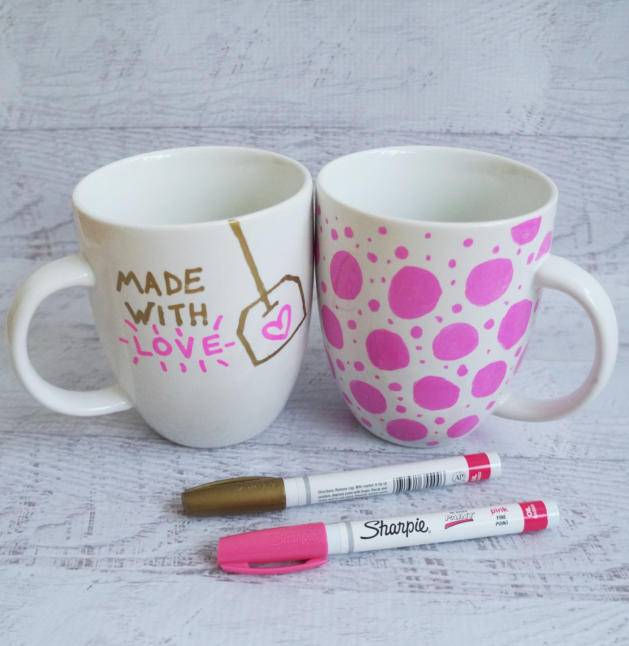 Brightly coloured paint sharpie mugs
