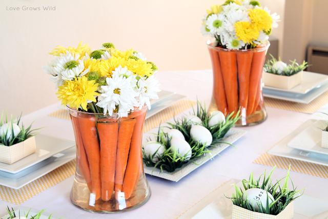 Carrot diy easter centerpiece