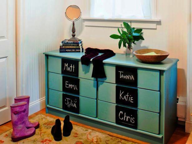 Chalkboard drawers entry dresser