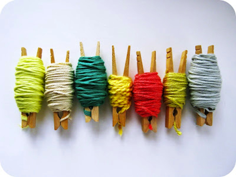 Clothespin yarn ends