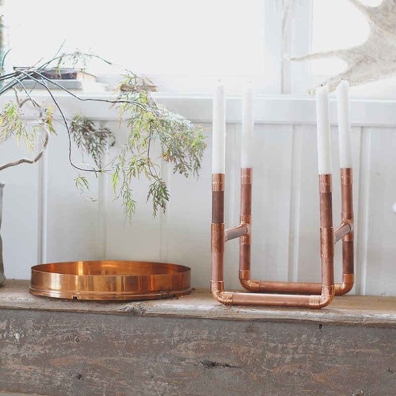 Copper pipe candle holder