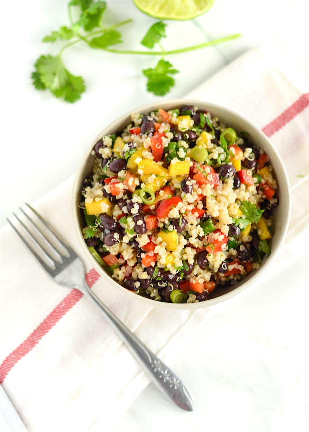 Crazy easy black bean mango quinoa salad