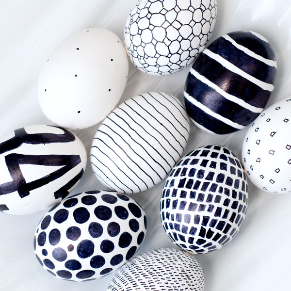Diy black and white easter eggs