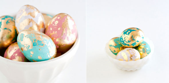 Diy golden marbled easter eggs