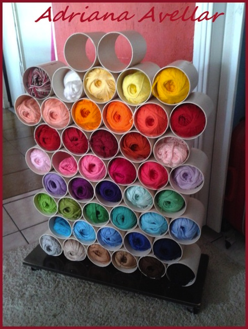Diy pvc pipe shelf for yarn