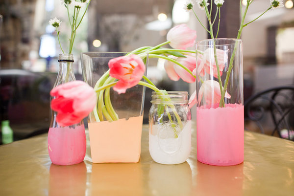 Diy pink dipped vases