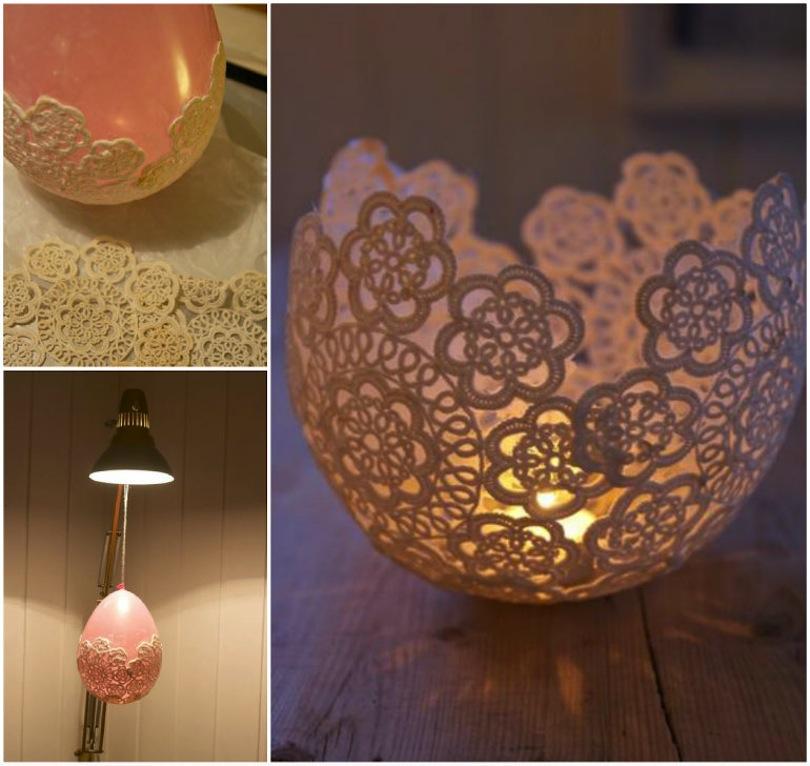 Decoupaged lace tea light bowl