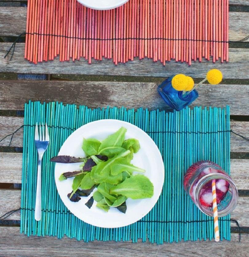 Dip dyed bamboo placemat