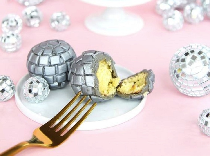 Disco ball cake bites