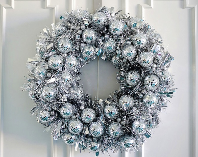 Disco ball door wreath