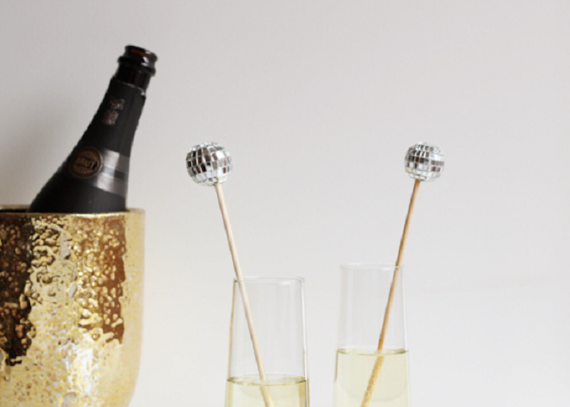 Disco ball drink stirrers