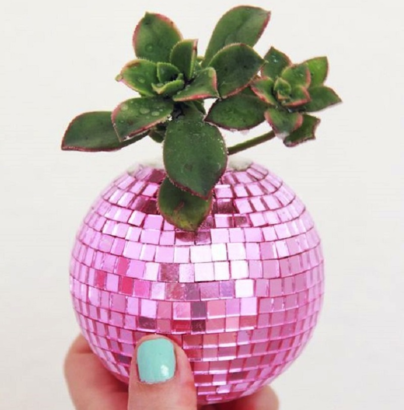 Disco ball succulent planter