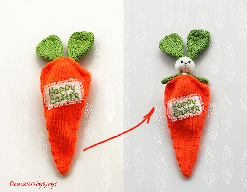 Easter bunny in a carrot toy