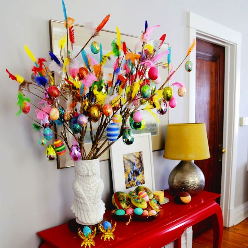 Easter tree with feathers