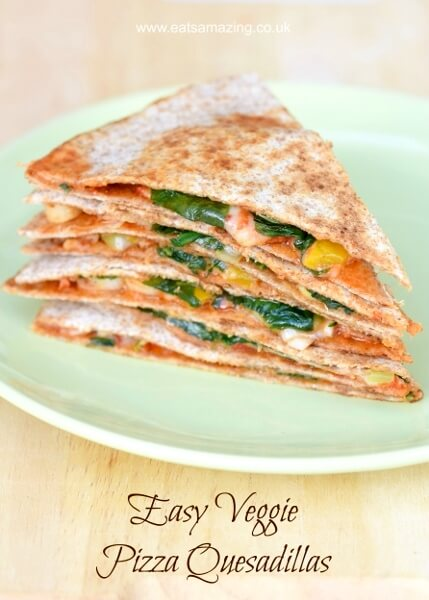 Easy vegetarian pizza quesadilla