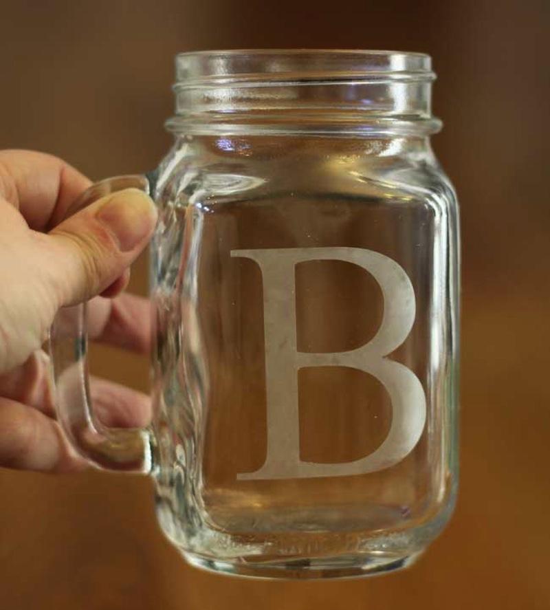 Etched glass mason jars