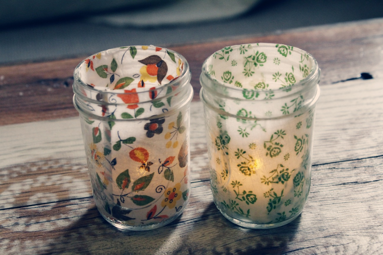 Fabric decoupage glass jar tea light holder